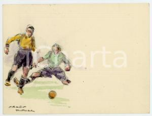 1930 ca BRUXELLES James THIRIAR - Football scene (6) Signed watercolour 11x8 cm