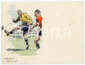 1930 ca BRUXELLES James THIRIAR - Football scene (7) Signed watercolour 11x8 cm