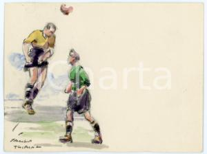 1930 ca BRUXELLES James THIRIAR - Football scene (8) Signed watercolour 11x8 cm