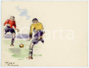 1930 ca BRUXELLES James THIRIAR - Football scene (9) Signed watercolour 11x8 cm