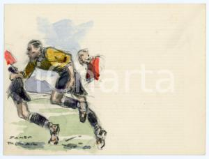 1930 ca BRUXELLES James THIRIAR - Football scene (10) Signed watercolour 11x8 cm