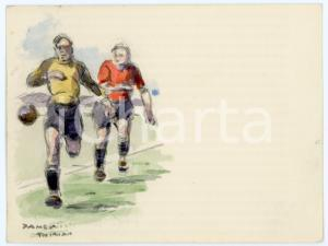 1930 ca BRUXELLES James THIRIAR - Football scene (11) Signed watercolour 11x8 cm