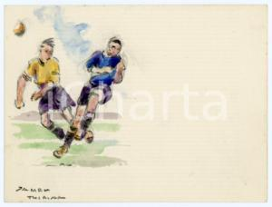 1930 ca BRUXELLES James THIRIAR - Football scene (12) Signed watercolour 11x8 cm