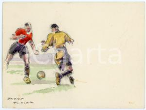 1930 ca BRUXELLES James THIRIAR - Football scene (13) Signed watercolour 11x8 cm