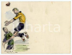 1930 ca BRUXELLES James THIRIAR - Football scene (14) Signed watercolour 11x8 cm