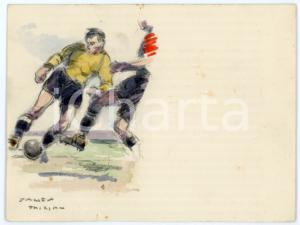1930 ca BRUXELLES James THIRIAR - Football scene (15) Signed watercolour 11x8 cm