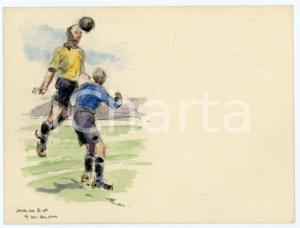 1930 ca BRUXELLES James THIRIAR - Football scene (16) Signed watercolour 11x8 cm