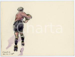 1930 ca BRUXELLES James THIRIAR - Football scene (17) Signed watercolour 11x8 cm