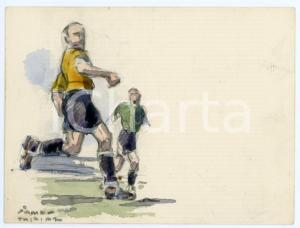 1930 ca BRUXELLES James THIRIAR - Football scene (18) Signed watercolour 11x8 cm