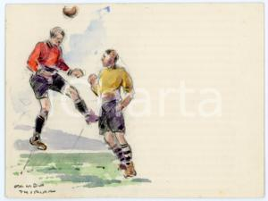 1930 ca BRUXELLES James THIRIAR - Football scene (19) Signed watercolour 11x8 cm