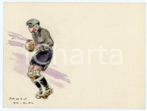 1930 ca BRUXELLES James THIRIAR - Football scene (20) Signed watercolour 11x8 cm