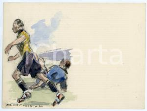 1930 ca BRUXELLES James THIRIAR - Football scene (21) Signed watercolour 11x8 cm