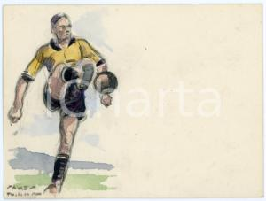 1930 ca BRUXELLES James THIRIAR - Football scene (22) Signed watercolour 11x8 cm