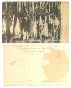 1900 ca ISOLA DI FAVIGNANA Manifattura 4^ - Cartolina ANIMATA DANNEGGIATA