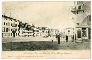 1905 TREVISO Piazzale Mercato Grani (Borgo Mazzini) - Cartolina ANIMATA FP VG