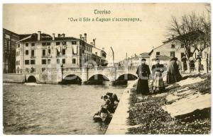 1910 ca TREVISO Ponte Dante e lavandaie - Cartolina postale ANIMATA FP NV