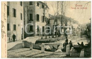 1900 ca TREVISO Canale dei Buranelli e lavandaie - Cartolina ANIMATA FP VG