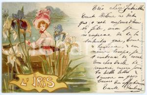 1900 Artist Jack ABEILLE L'iris - Woman on a boat ILLUSTRATED Postcard FP VG