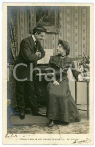 1903 CONJUGAISON DU VERB AIMER - Je t'aime - Couple - Vintage postcard n°1