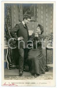 1903 ca CONJUGAISON DU VERB AIMER - Il m'aime - Couple - Vintage postcard n°3