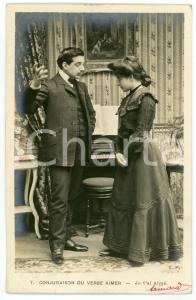 1902 CONJUGAISON DU VERB AIMER - Je t'ai aimé - Couple - Vintage postcard n°7