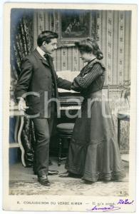 1903 CONJUGAISON DU VERB AIMER - Il m'a aimé - Couple - Vintage postcard n°9