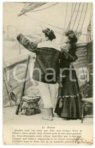 1905 Le retour - Couple of lovers on boat - French vintage postcard