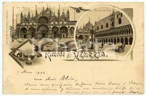 1902 VENEZIA Vedutine Piazza SAN MARCO e Palazzo del Doge - Cartolina ANIMATA
