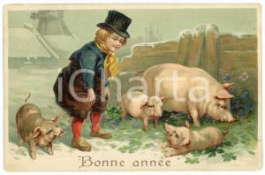 1910 BONNE ANNEE Lucky child with four leaf clovers and pigs - Embossed postcard