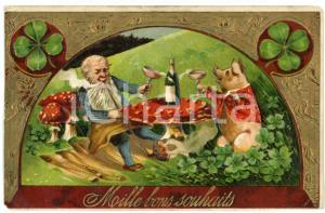 1908 BONS SOUHAITS Lucky gnome drinking champagne with pig - Embossed postcard