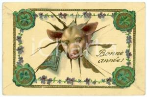 1911 BONNE ANNEE Lucky pig with coin and four leaf clovers *Embossed postcard