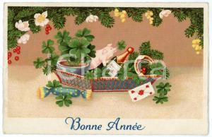 1935 BONNE ANNEE Lucky basket with pig, four leaf clovers, horseshoe - Postcard