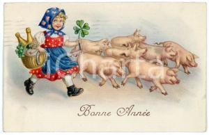 1934 BONNE ANNEE Lucky girl with four leaf clover, horseshoe and pigs *Postcard