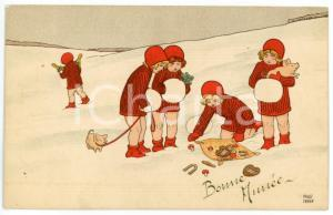 1910 ca BONNE ANNEE Children playing on snow with pigs - ill. P. EBNER *Postcard