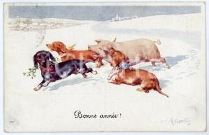 1910 ca BONNE ANNEE Pig playing with lucky dogs - ill. Karl FEIERTAG Postcard