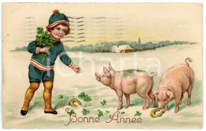 1934 BONNE ANNEE Lucky child with four leaf clovers and pigs - Vintage postcard