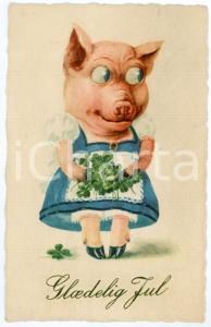 1923 GLAEDELIG JUL Pig with four leaf clovers *Anthropomorphic embossed postcard