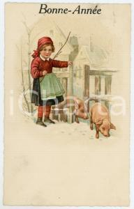 1910 ca BONNE ANNEE Girl with pigs on the snow - Vintage postcard
