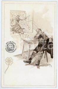 1900ca BONNE ANNÉE Sleeping man and lucky pig - Ill. by H. SCHUBERT - Postcard