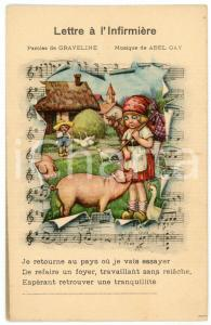 1910ca LETTRE À L'INFIRMIÈRE Pig and peasant girl - Illustrated Postcard FP NV