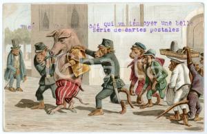 1905 HUMOUR Police monkeys arrest a pig - Anthropomorphic - Illustrated Postcard