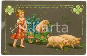 1909 BONNE ANNÉE Child with three lucky pigs - Illustrated Postcard FP VG
