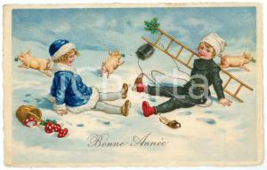 1935 BONNE ANNÉE Chimney sweep with lucky pig - Illustrated postcard FP VG