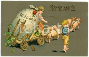 1909 BONNE ANNÉE Wagon pulled by lucky pigs - Embossed golden postcard FP VG