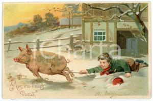 1900ca BONNE ANNÉE Child stops pig on the run - Embossed Postcard FP VG