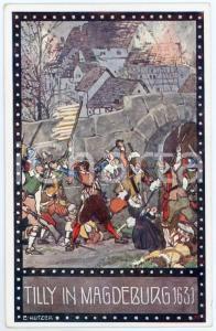1920ca IM ZEICHEN DER RELIGION Tilly in Magdeburg - Ill. Ernst KUTZER Postcard