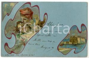 1903 'O SOLE MIO Innamorati - Illustrazione di Alberto DELLA VALLE Cartolina FP