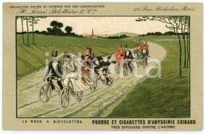 1911 CIGARETTES D'EXIBARD La noce à bicylclettes - Carte postale ILLUSTRÉE FP