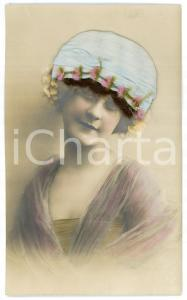 1920 ca REAL HAIR old postcard - Woman wearing a light blue hat - FP NV