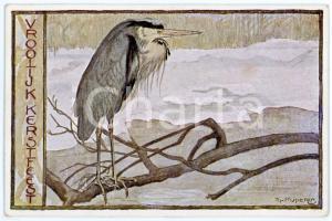 1941 VROOLIJK KERSTFEEST Blauwe reiger - Ill. by Sjoerd KUPERUS Postcard FP VG